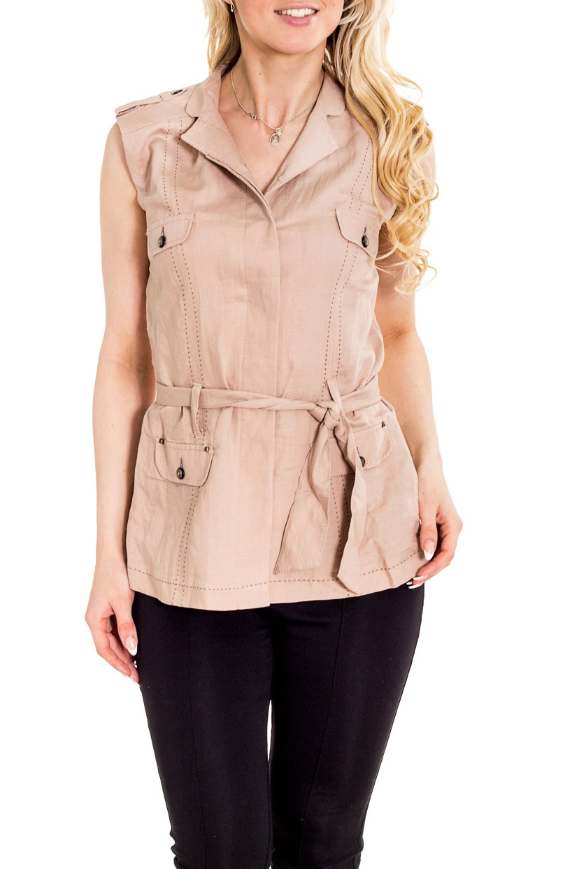 БлузкаБлузки<br>Однотонная блузка-жилет в стиле quot;сафариquot;. Модель выполнена из натурального льна. Отличный выбор для повседневного гардероба. Блузка без пояса.  Цвет: бежевый  Рост девушки-фотомодели 170 см.<br><br>Воротник: Отложной<br>Горловина: V- горловина<br>По материалу: Лен<br>По рисунку: Однотонные<br>По сезону: Весна,Зима,Лето,Осень,Всесезон<br>По силуэту: Приталенные<br>По стилю: Повседневный стиль,Сафари,Кэжуал,Летний стиль<br>Рукав: Без рукавов<br>По элементам: С карманами,С отделочной фурнитурой<br>Размер : 44,46,48<br>Материал: Лен<br>Количество в наличии: 3