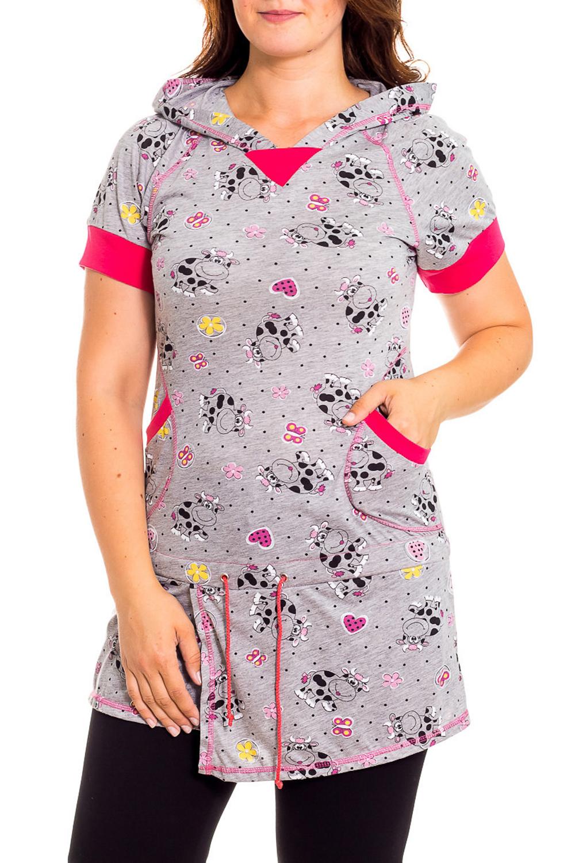 ТуникаТуники<br>Женская домашняя туника с короткими рукавами. Домашняя одежда, прежде всего, должна быть удобной, практичной и красивой. В тунике Вы будете чувствовать себя комфортно, особенно, по вечерам после трудового дня.  В изделии использованы цвета: серый, розовый и др.  Рост девушки-фотомодели 180 см.<br><br>По рисунку: Животные мотивы,Цветочные,С принтом<br>По сезону: Весна,Зима,Лето,Осень,Всесезон<br>По силуэту: Полуприталенные<br>По элементам: С карманами<br>Рукав: Короткий рукав<br>По материалу: Хлопок<br>Размер : 40,48<br>Материал: Хлопок<br>Количество в наличии: 2