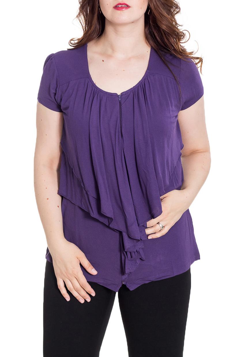 БлузкаБлузки<br>Великолепная блузка с короткими рукавами. Модель выполнена из мягкой вискозы. Отличный выбор для повседневного гардероба.  Цвет: фиолетовый  Рост девушки-фотомодели 180 см.<br><br>Горловина: С- горловина<br>По материалу: Вискоза,Трикотаж<br>По рисунку: Однотонные<br>По сезону: Весна,Зима,Лето,Осень,Всесезон<br>По силуэту: Полуприталенные<br>По стилю: Повседневный стиль<br>По элементам: Со складками<br>Рукав: Короткий рукав<br>Размер : 44,46,48,50<br>Материал: Трикотаж<br>Количество в наличии: 4