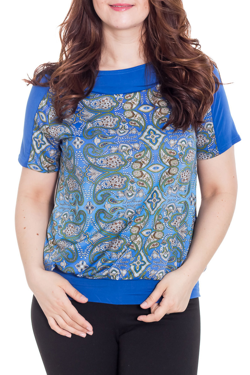 БлузкаБлузки<br>Блуза с коротким рукавом, круглый вырез горловины на кокетке, низ на манжете. Сочетание цветов и свободный крой позволяет скрывать изъяны фигуры. Замечательный повседневный вариант, под брюки и юбку.  Цвет: синий, голубой.  Рост девушки-фотомодели 180 см  Длина изделия 64 ± 2 см<br><br>По материалу: Трикотаж<br>По рисунку: С принтом,Цветные<br>По сезону: Весна,Зима,Лето,Осень,Всесезон<br>По силуэту: Свободные<br>По стилю: Повседневный стиль<br>Рукав: Короткий рукав<br>Горловина: С- горловина<br>Размер : 52<br>Материал: Холодное масло<br>Количество в наличии: 1