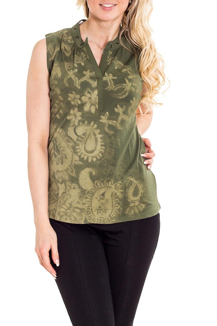 БлузкаБлузки<br>Красивая блузка полуприталенного силуэта. Модель выполнена из приятного материала. Отличный выбор для повседневного гардероба.  Цвет: зеленый  Рост девушки-фотомодели 170 см.<br><br>Горловина: V- горловина<br>По материалу: Вискоза,Трикотаж<br>По рисунку: С принтом,Цветные<br>По сезону: Весна,Зима,Лето,Осень,Всесезон<br>По силуэту: Полуприталенные<br>По стилю: Повседневный стиль,Летний стиль<br>По элементам: С отделочной фурнитурой<br>Рукав: Без рукавов<br>Размер : 48,50<br>Материал: Вискоза<br>Количество в наличии: 2