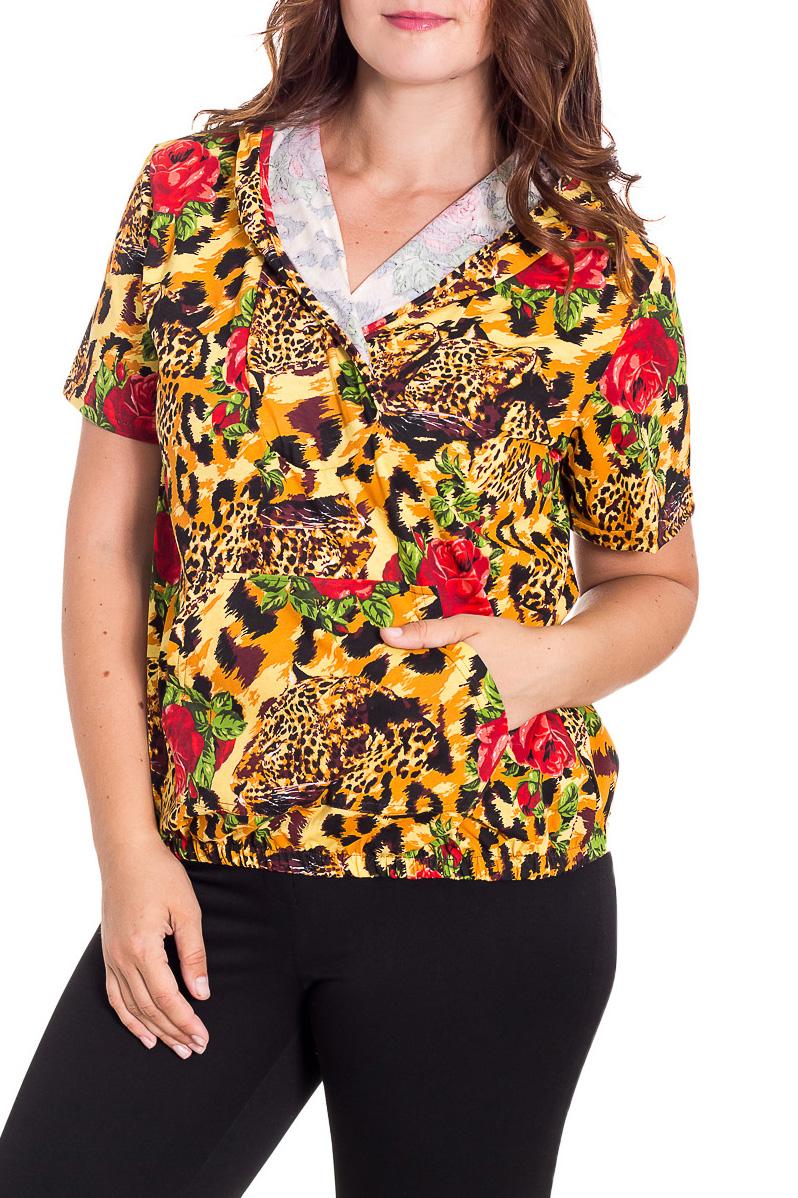 ДжемперКофты<br>Цветной женский джемпер с капюшоном и короткими рукавами. Модель выполнена из приятного трикотажа. Отличный выбор для повседневного гардероба.  В изделии использованы цвета: желтый и др.  Рост девушки-фотомодели 180 см.<br><br>По длине: Средней длины<br>По материалу: Трикотаж,Хлопок<br>По образу: Город<br>По рисунку: Леопард,Растительные мотивы,С принтом,Цветные,Цветочные,Животные мотивы<br>По сезону: Весна,Зима,Лето,Осень,Всесезон<br>По силуэту: Прямые<br>По стилю: Повседневный стиль<br>По элементам: С капюшоном,С карманами<br>Рукав: Короткий рукав<br>Размер : 52,54,56,58<br>Материал: Трикотаж<br>Количество в наличии: 8