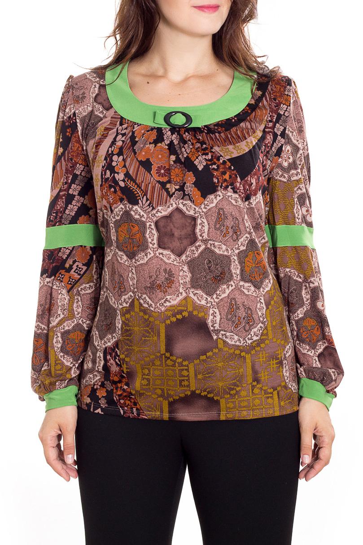 БлузкаБлузки<br>Цветная блузка с длинными рукавами. Модель выполнена из мягкой вискозы. Отличный выбор для повседневного гардероба.  В изделии использованы цвета: коричневый, бежевый, салатовый и др.  Рост девушки-фотомодели 180 см<br><br>Горловина: С- горловина<br>По материалу: Вискоза<br>По образу: Город<br>По рисунку: С принтом,Цветные<br>По сезону: Весна,Зима,Лето,Осень,Всесезон<br>По силуэту: Полуприталенные<br>По стилю: Повседневный стиль<br>По элементам: С декором,С манжетами,С отделочной фурнитурой<br>Рукав: Длинный рукав<br>Размер : 60,64<br>Материал: Вискоза<br>Количество в наличии: 2