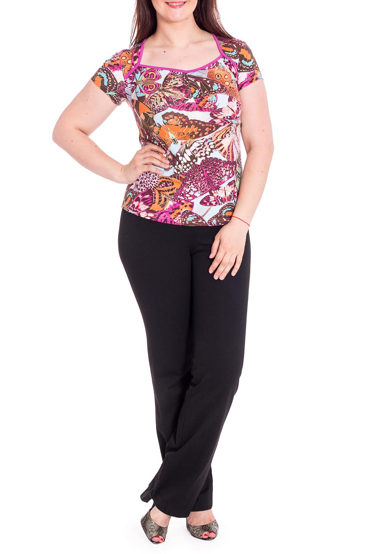 БлузкаБлузки<br>Цветная блузка с фигурной горловиной и короткими рукавами. Модель выполнена из приятного материала. Отличный выбор для повседневного гардероба. В изделии используются цвета: розовый, оранжевый и др.Рост девушки-фотомодели 180 см<br><br>Горловина: Фигурная горловина<br>Рукав: Короткий рукав<br>Материал: Вискоза<br>Рисунок: Бабочки,С принтом,Цветные<br>Сезон: Весна,Всесезон,Зима,Лето,Осень<br>Силуэт: Полуприталенные<br>Стиль: Летний стиль,Повседневный стиль<br>Размер : 50,52,54,56,58<br>Материал: Вискоза<br>Количество в наличии: 10
