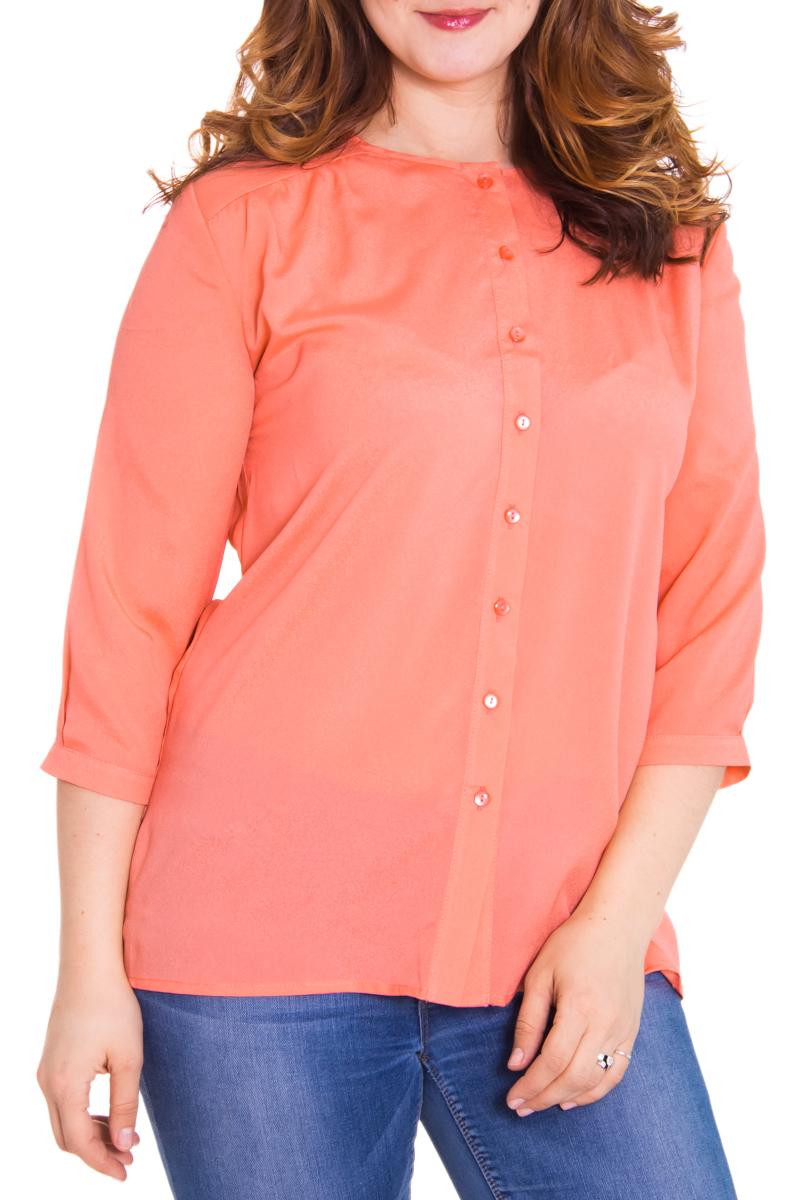 БлузкаБлузки<br>Хорошенькая блузка с круглой горловиной, рукавами 3/4 и застежкой на пуговицы. Модель выполнена из воздушного шифона. Отличный выбор для любого случая.  Цвет: коралловый  Параметры изделия: 44 размер: длина изделия по спинке - 67 см, полуобхват по линии груди - 51 см, длина рукава - 44 см;  54 размер: длина изделия по спинке - 71 см, полуобхват по линии груди - 61 см, длина рукава - 45 см.  Рост девушки-фотомодели 180 см<br><br>Горловина: С- горловина<br>Застежка: С пуговицами<br>По материалу: Шифон<br>По рисунку: Однотонные<br>По сезону: Весна,Всесезон,Зима,Лето,Осень<br>По силуэту: Свободные<br>По стилю: Нарядный стиль,Повседневный стиль<br>Рукав: Рукав три четверти<br>Размер : 48,52,54,56,58<br>Материал: Шифон<br>Количество в наличии: 8