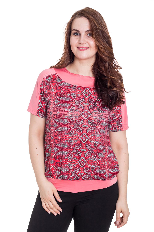 БлузкаБлузки<br>Блуза с коротким рукавом, круглый вырез горловины на кокетке, низ на манжете. Сочетание цветов и свободный крой позволяет скрывать изъяны фигуры. Замечательный повседневный вариант, под брюки и юбку.  Цвет: розовый, малиновый.  Рост девушки-фотомодели 180 см  Длина изделия 64 ± 2 см<br><br>Горловина: Лодочка<br>По материалу: Вискоза,Трикотаж<br>По образу: Город,Свидание<br>По рисунку: С принтом,Цветные<br>По сезону: Весна,Зима,Лето,Осень,Всесезон<br>По силуэту: Свободные<br>По стилю: Повседневный стиль<br>Рукав: Короткий рукав<br>Размер : 52,54,56,58,60,62<br>Материал: Холодное масло<br>Количество в наличии: 11