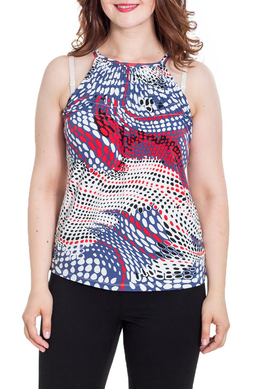 ТопТопы<br>Красивая блузка полуприталенного силуэта. Модель выполнена из приятного материала. Отличный выбор для повседневного гардероба.  Цвет: синий, белый, красный  Рост девушки-фотомодели 180 см.<br><br>Горловина: С- горловина<br>По материалу: Вискоза,Трикотаж<br>По рисунку: С принтом,Цветные<br>По сезону: Весна,Зима,Лето,Осень,Всесезон<br>По силуэту: Полуприталенные<br>По стилю: Повседневный стиль,Летний стиль<br>По элементам: С открытыми плечами<br>Рукав: Без рукавов<br>Размер : 48<br>Материал: Вискоза<br>Количество в наличии: 1