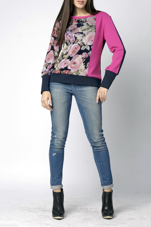 БлузкаДжемперы<br>Блуза прямого кроя с длинным рукавом на манжете, круглым вырезом горловины, выполненная в технике Color Block.  Длина изделия по спинке 58 см.  В изделии использованы цвета: розовый, синий и др.  Ростовка изделия 170 см.<br><br>Горловина: С- горловина<br>По материалу: Трикотаж<br>По рисунку: Растительные мотивы,С принтом,Цветные,Цветочные<br>По сезону: Зима,Осень,Весна<br>По силуэту: Полуприталенные<br>По стилю: Повседневный стиль<br>По элементам: С манжетами<br>Рукав: Длинный рукав<br>Размер : 44-46,48-50<br>Материал: Трикотаж<br>Количество в наличии: 2