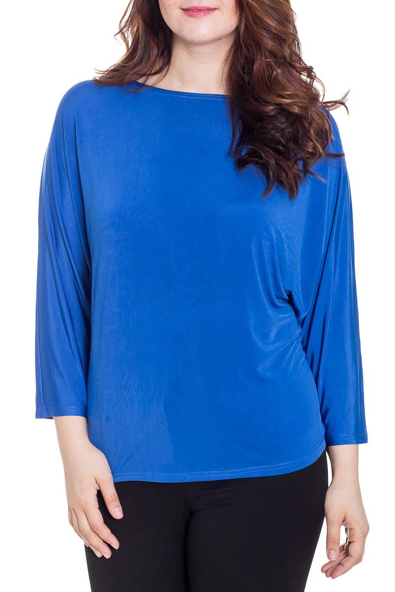 БлузкаБлузки<br>Элегантная женская блузка идеально подойдет для создания Вашего повседневного образа. Блуза с длинным рукавом летучая мышь, вырез горловины лодочка. Замечательный вариант под кардиган, а также на деловую встречу.  Цвет: синий.  Рост девушки-фотомодели 180 см  Длина: 63 ± 2 см<br><br>Горловина: Лодочка<br>По материалу: Вискоза,Трикотаж<br>По рисунку: Однотонные<br>По сезону: Весна,Зима,Лето,Осень,Всесезон<br>По силуэту: Свободные<br>По стилю: Классический стиль,Кэжуал,Офисный стиль,Повседневный стиль<br>По элементам: С декором<br>Рукав: Длинный рукав,Рукав три четверти<br>Размер : 54,56,58<br>Материал: Холодное масло<br>Количество в наличии: 3