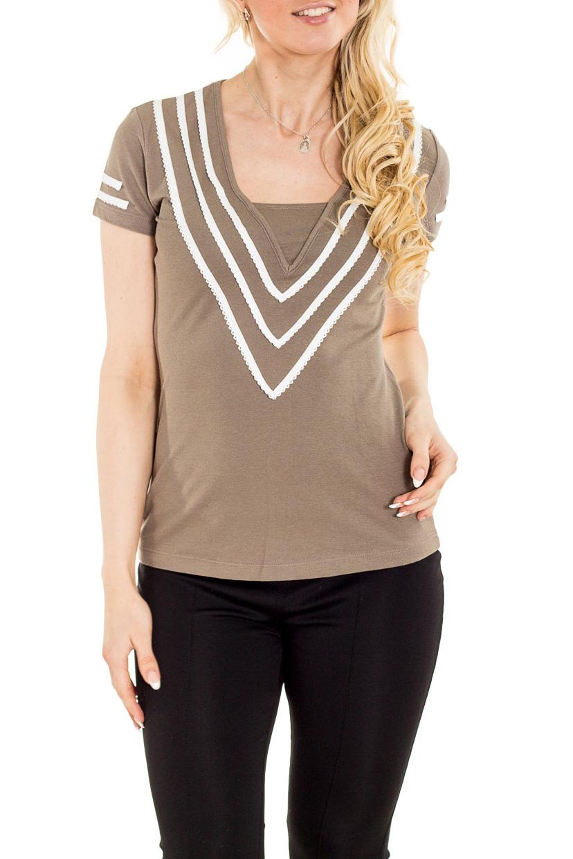БлузкаБлузки<br>Красивая блузка с контрастной отделкой. Модель выполнена из приятного материала. Отличный выбор для повседневного гардероба.  Цвет: бежевый, белый  Рост девушки-фотомодели 170 см.<br><br>Горловина: Квадратная горловина<br>По материалу: Вискоза,Трикотаж<br>По рисунку: Однотонные<br>По сезону: Весна,Зима,Лето,Осень,Всесезон<br>По силуэту: Приталенные<br>По стилю: Повседневный стиль<br>По элементам: С декором<br>Рукав: Короткий рукав<br>Размер : 44<br>Материал: Трикотаж<br>Количество в наличии: 1