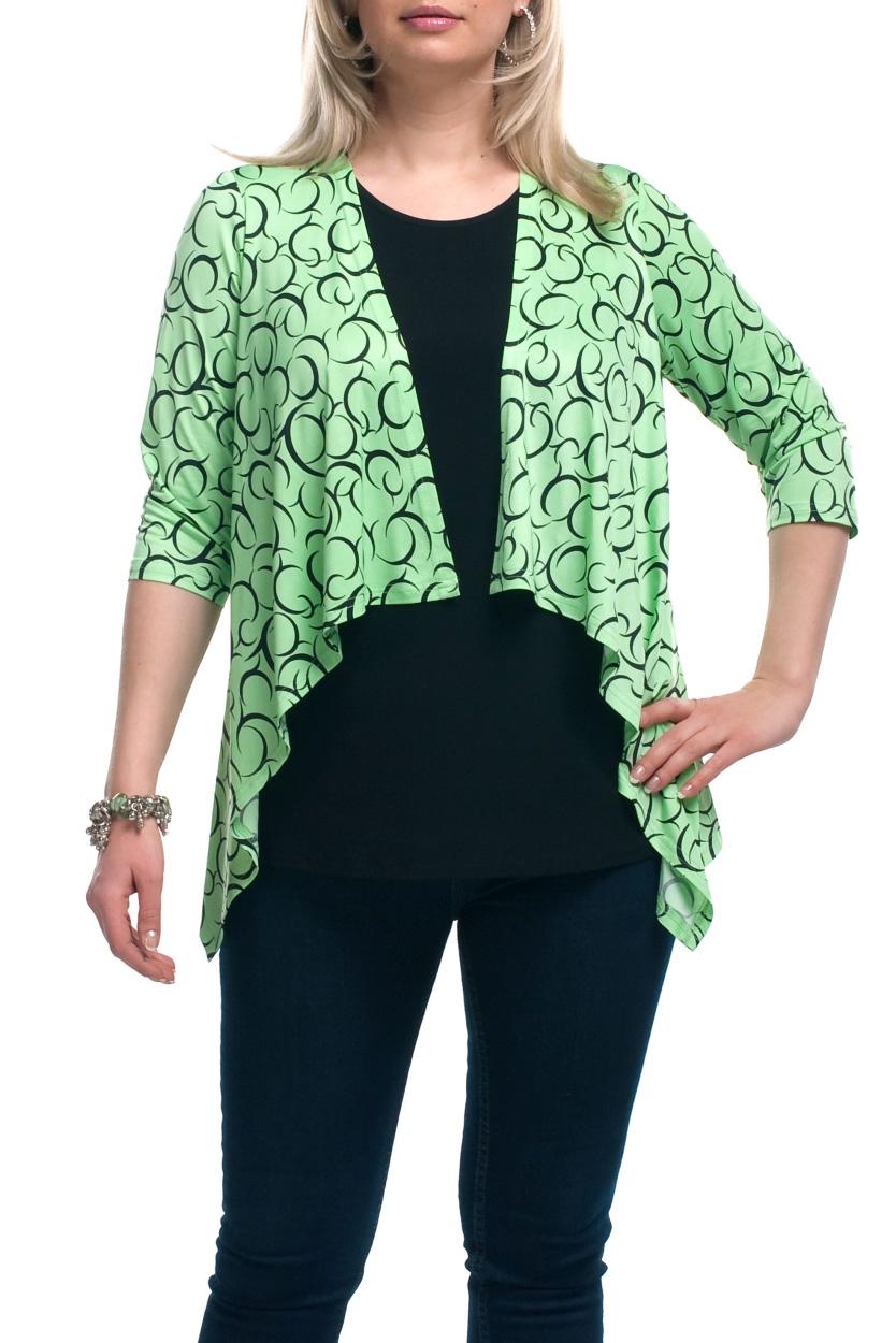 БлузкаБлузки<br>Интересная блузка с имитацией кардигана. Модель выполнена из приятного трикотажа. Отличный выбор для любого случая.  Цвет: салатовый, черный  Рост девушки-фотомодели 173 см.<br><br>Горловина: С- горловина<br>По материалу: Трикотаж<br>По рисунку: С принтом,Цветные<br>По сезону: Весна,Зима,Лето,Осень,Всесезон<br>По силуэту: Полуприталенные<br>По стилю: Повседневный стиль<br>Рукав: Рукав три четверти<br>Размер : 56,58,60,62,64,66,68<br>Материал: Холодное масло<br>Количество в наличии: 10