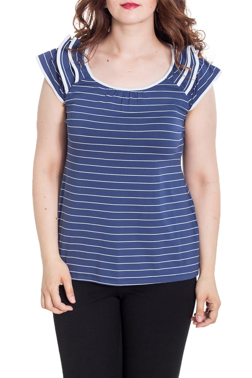 БлузкаБлузки<br>Красивая блузка полуприталенного силуэта. Модель выполнена из приятного материала. Отличный выбор для повседневного гардероба.  Цвет: синий, белый  Рост девушки-фотомодели 180 см.<br><br>Горловина: С- горловина<br>По материалу: Вискоза<br>По рисунку: В полоску,С принтом,Цветные<br>По сезону: Весна,Зима,Лето,Осень,Всесезон<br>По силуэту: Полуприталенные<br>По стилю: Повседневный стиль,Летний стиль<br>По элементам: С воланами и рюшами<br>Рукав: Без рукавов,Короткий рукав<br>Размер : 48<br>Материал: Вискоза<br>Количество в наличии: 1