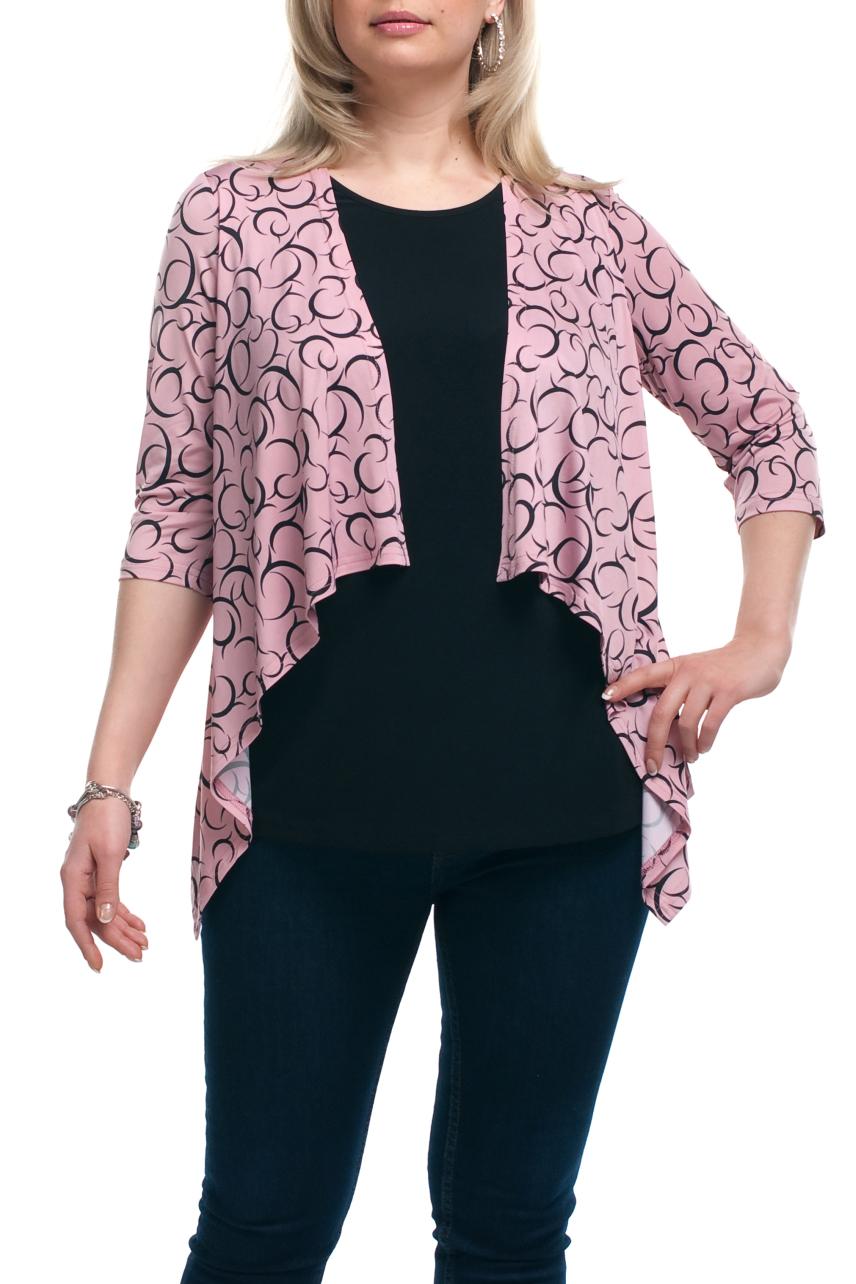 БлузкаБлузки<br>Интересная блузка с имитацией кардигана. Модель выполнена из приятного трикотажа. Отличный выбор для любого случая.  Цвет: розовый, черный  Рост девушки-фотомодели 173 см.<br><br>Горловина: С- горловина<br>По материалу: Трикотаж<br>По образу: Город,Свидание<br>По рисунку: С принтом,Цветные<br>По сезону: Весна,Зима,Лето,Осень,Всесезон<br>По силуэту: Полуприталенные<br>По стилю: Повседневный стиль<br>Рукав: Рукав три четверти<br>Размер : 52,54,56,58,60,62,64,66,68,70<br>Материал: Холодное масло<br>Количество в наличии: 14