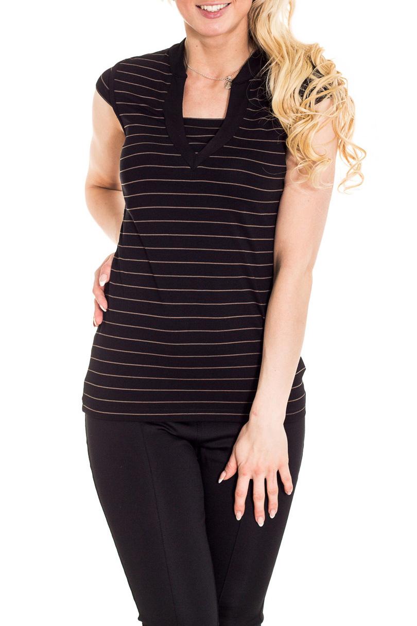 БлузкаБлузки<br>Красивая блузка с короткими рукавами. Модель выполнена из приятного материала. Отличный выбор для повседневного гардероба.  Цвет: черный, бежевый  Рост девушки-фотомодели 170 см.<br><br>По материалу: Вискоза,Трикотаж<br>По рисунку: С принтом<br>По сезону: Весна,Зима,Лето,Осень,Всесезон<br>По силуэту: Приталенные<br>По стилю: Повседневный стиль<br>Рукав: Короткий рукав<br>Размер : 44,46,48<br>Материал: Вискоза<br>Количество в наличии: 3