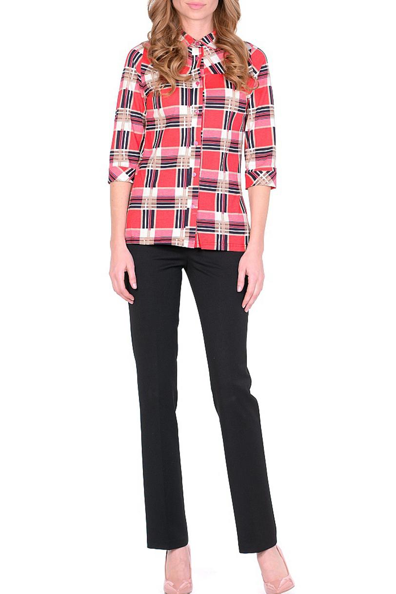 БлузкаБлузки<br>Цветная блузка с рубашечным воротником и застежкой на пуговицы. Модель выполнена из хлопкового трикотажа. Отличный выбор для повседневного гардероба.  В изделии использованы цвета: коралловый и др.  Ростовка изделия 170 см.<br><br>Воротник: Рубашечный<br>Застежка: С пуговицами<br>По материалу: Трикотаж,Хлопок<br>По рисунку: В клетку,С принтом,Цветные<br>По сезону: Весна,Зима,Лето,Осень,Всесезон<br>По силуэту: Полуприталенные<br>По стилю: Повседневный стиль<br>По элементам: С манжетами<br>Рукав: Рукав три четверти<br>Размер : 44,46,48,54<br>Материал: Трикотаж<br>Количество в наличии: 6