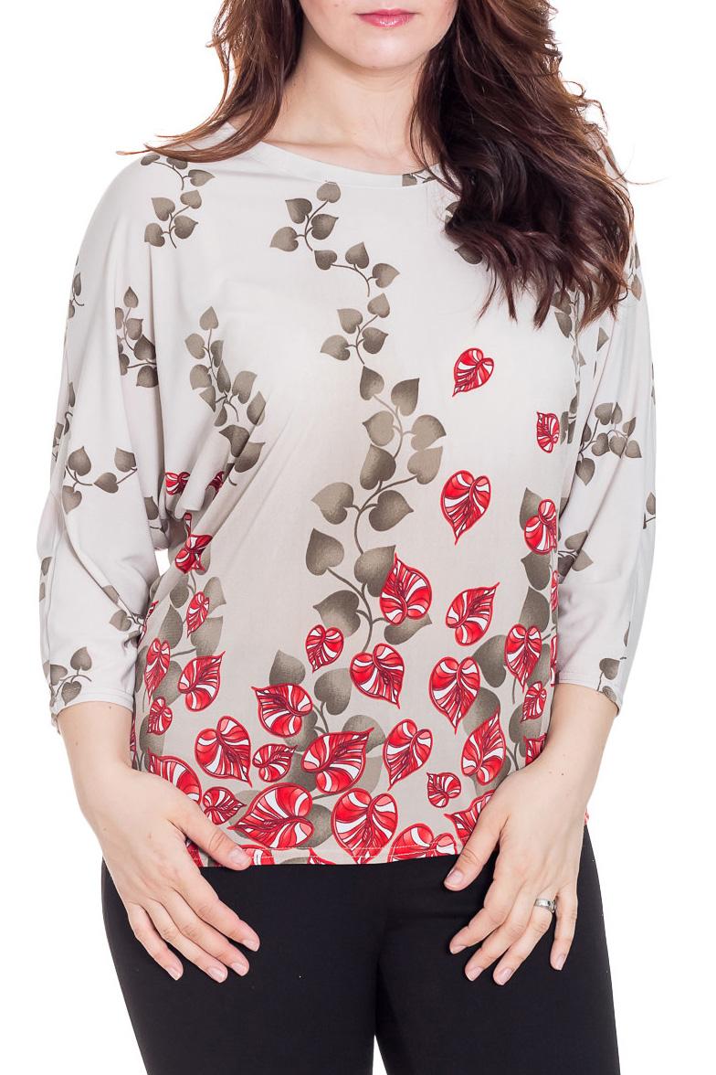 БлузкаБлузки<br>Элегантная женская блузка идеально подойдет для создания Вашего повседневного образа. Блуза с рукавом 3/4 летучая мышь, круглый вырез горловины. Идеальный вариант под юбку и брюки.  Цвет: бежевый, коричневый, красный  Рост девушки-фотомодели 180 см  Длина: 65 ± 2 см<br><br>Горловина: С- горловина<br>По материалу: Вискоза,Трикотаж<br>По рисунку: Абстракция,Растительные мотивы,С принтом,Цветные<br>По сезону: Весна,Зима,Лето,Осень,Всесезон<br>По силуэту: Свободные<br>По стилю: Повседневный стиль<br>Рукав: Рукав три четверти<br>Размер : 60,62,68<br>Материал: Холодное масло<br>Количество в наличии: 4