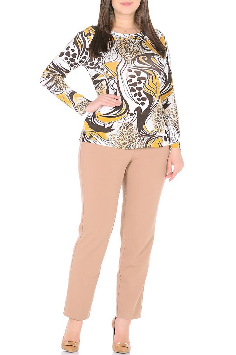БлузкаБлузки<br>Цветная блузка с круглой головиной и длинными рукавами. Модель выполнена из приятного трикотажа. Отличный выбор для повседневного гардероба.  В изделии использованы цвета: белый, коричневый, желтый  Ростовка изделия 170 см.<br><br>Горловина: С- горловина<br>По материалу: Вискоза,Трикотаж<br>По рисунку: С принтом,Цветные<br>По сезону: Весна,Зима,Лето,Осень,Всесезон<br>По силуэту: Приталенные<br>По стилю: Повседневный стиль<br>Рукав: Длинный рукав<br>Размер : 48,50,52,54,56,58,60<br>Материал: Трикотаж<br>Количество в наличии: 12