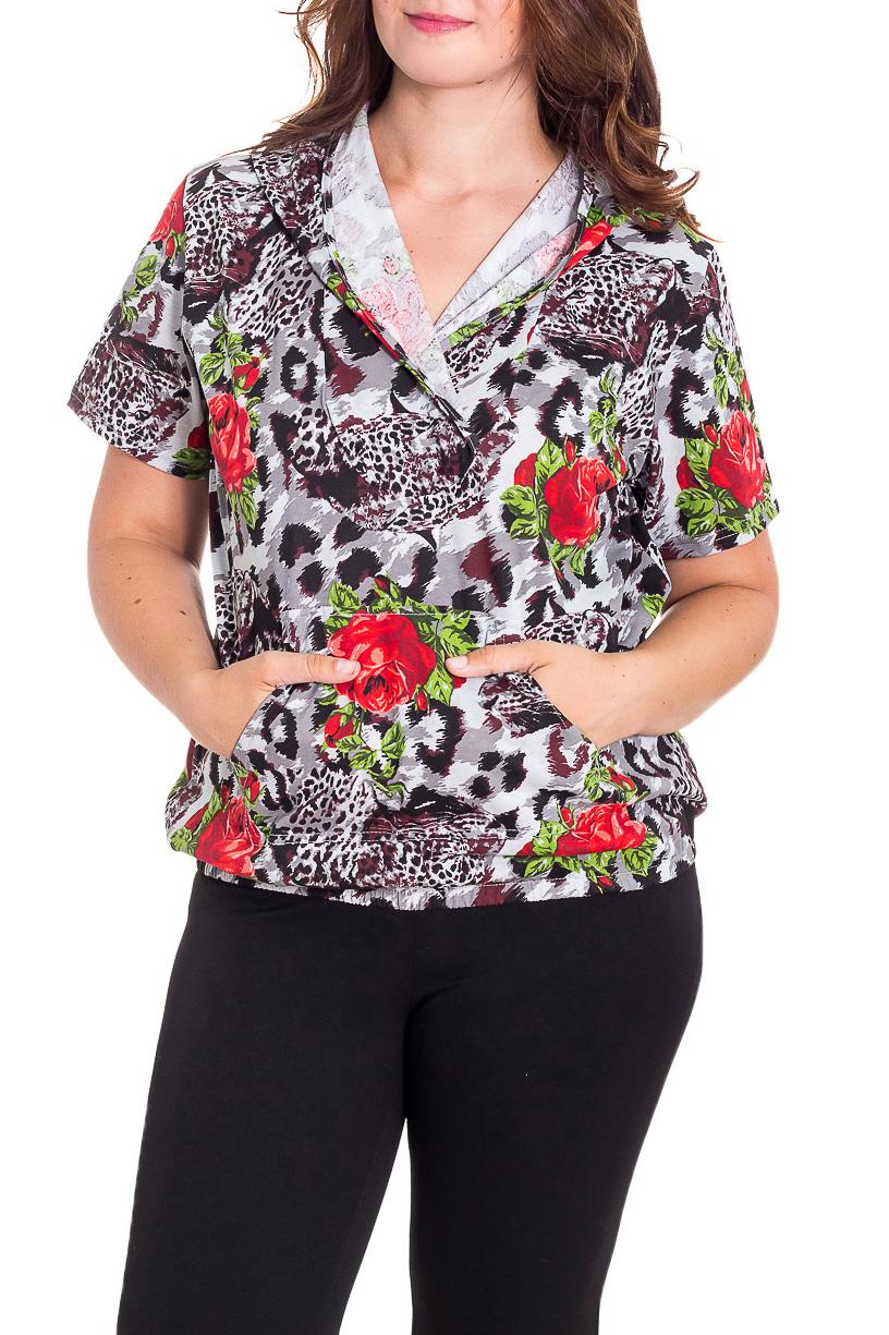 ДжемперКофты<br>Цветной женский джемпер с капюшоном и короткими рукавами. Модель выполнена из приятного трикотажа. Отличный выбор для повседневного гардероба.  В изделии использованы цвета: серый и др.  Рост девушки-фотомодели 180 см.<br><br>Горловина: V- горловина,Запах<br>По длине: Средней длины<br>По материалу: Трикотаж,Хлопок<br>По рисунку: Леопард,Растительные мотивы,С принтом,Цветные,Цветочные<br>По сезону: Весна,Зима,Лето,Осень,Всесезон<br>По силуэту: Прямые<br>По стилю: Повседневный стиль<br>По элементам: С капюшоном,С карманами<br>Рукав: Короткий рукав<br>Размер : 52,54,56,58<br>Материал: Трикотаж<br>Количество в наличии: 9