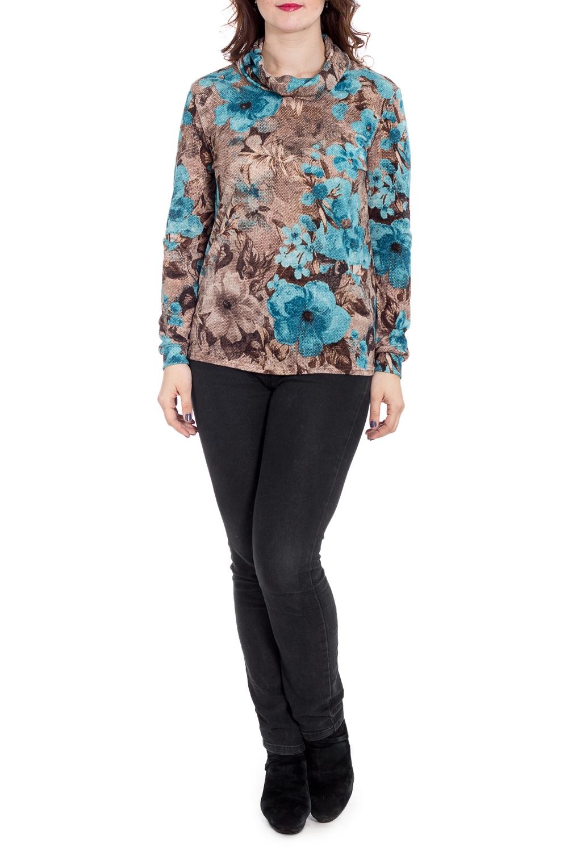 БлузкаБлузки<br>Цветная блузка с длинными рукавами. Модель выполнена из приятного материала. Отличный выбор для повседневного гардероба. Ростовка изделия 164 см.  В изделии использованы цвета: бежевый, голубой и др.  Рост девушки-фотомодели 180 см<br><br>Воротник: Хомут<br>По материалу: Вискоза,Трикотаж<br>По рисунку: Растительные мотивы,С принтом,Цветные,Цветочные<br>По сезону: Весна,Зима,Лето,Осень,Всесезон<br>По силуэту: Полуприталенные<br>По стилю: Повседневный стиль<br>Рукав: Длинный рукав<br>Размер : 58<br>Материал: Трикотаж<br>Количество в наличии: 1