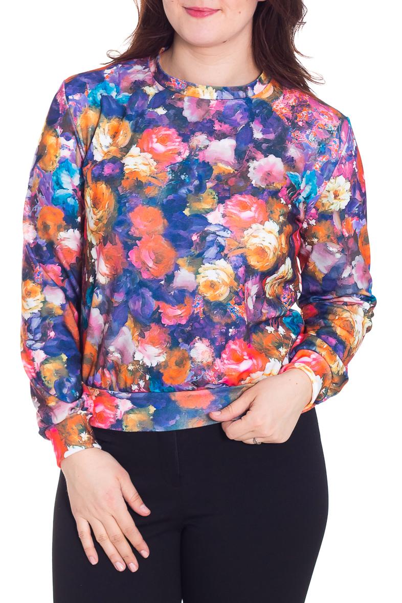ДжемперДжемперы<br>Яркий джемпер с длинными рукавами. Модель выполнена из приятного материала. Отличный выбор для повседневного гардероба.  Цвет: синий, розовый, оранжевый, голубой  Рост девушки-фотомодели 180 см.<br><br>Горловина: С- горловина<br>По материалу: Трикотаж<br>По рисунку: Растительные мотивы,С принтом,Цветные,Цветочные<br>По сезону: Весна,Осень,Зима<br>По силуэту: Полуприталенные<br>По стилю: Повседневный стиль<br>Рукав: Длинный рукав<br>Размер : 48<br>Материал: Джерси<br>Количество в наличии: 1