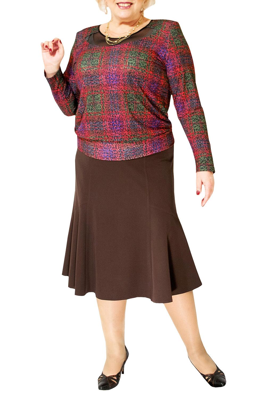 БлузкаБлузки<br>Красивая блузка со вставкой из гипюровой сетки у горловины и длинными рукавами. Модель выполнена из приятного материала. Отличный выбор для любого случая.  Цвет: красный, зеленый, фиолетовый  Ростовка изделия 170 см.<br><br>По образу: Город<br>По стилю: Повседневный стиль<br>По материалу: Трикотаж,Вискоза<br>По рисунку: С принтом,Цветные<br>По сезону: Весна,Зима,Лето,Всесезон,Осень<br>По силуэту: Приталенные<br>Рукав: Длинный рукав<br>Горловина: С- горловина<br>Размер: 44-46,48-50,52-56,58-62,64-68<br>Материал: 50% вискоза 50% полиэстер<br>Количество в наличии: 6