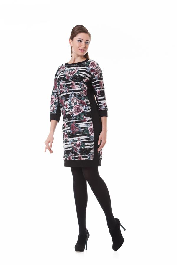 ПлатьеПлатья<br>Платье PIKANTO выполнено из  мягкого хлопкового мольтона  с яркой цветочной  набивкой. Боковые части изделия, обтачка низа и горловина – из трикотажного джерси черного цвета с высоким содержанием вискозы. Особенности : модель полуприлегающего силуэта, карманы в рельфных швах полочки, круглая линия горловины, рукав цельнокроенный.<br><br>По сезону: Осень,Весна<br>Размер : 44,46,48,50,52,54<br>Материал: Вискоза<br>Количество в наличии: 9