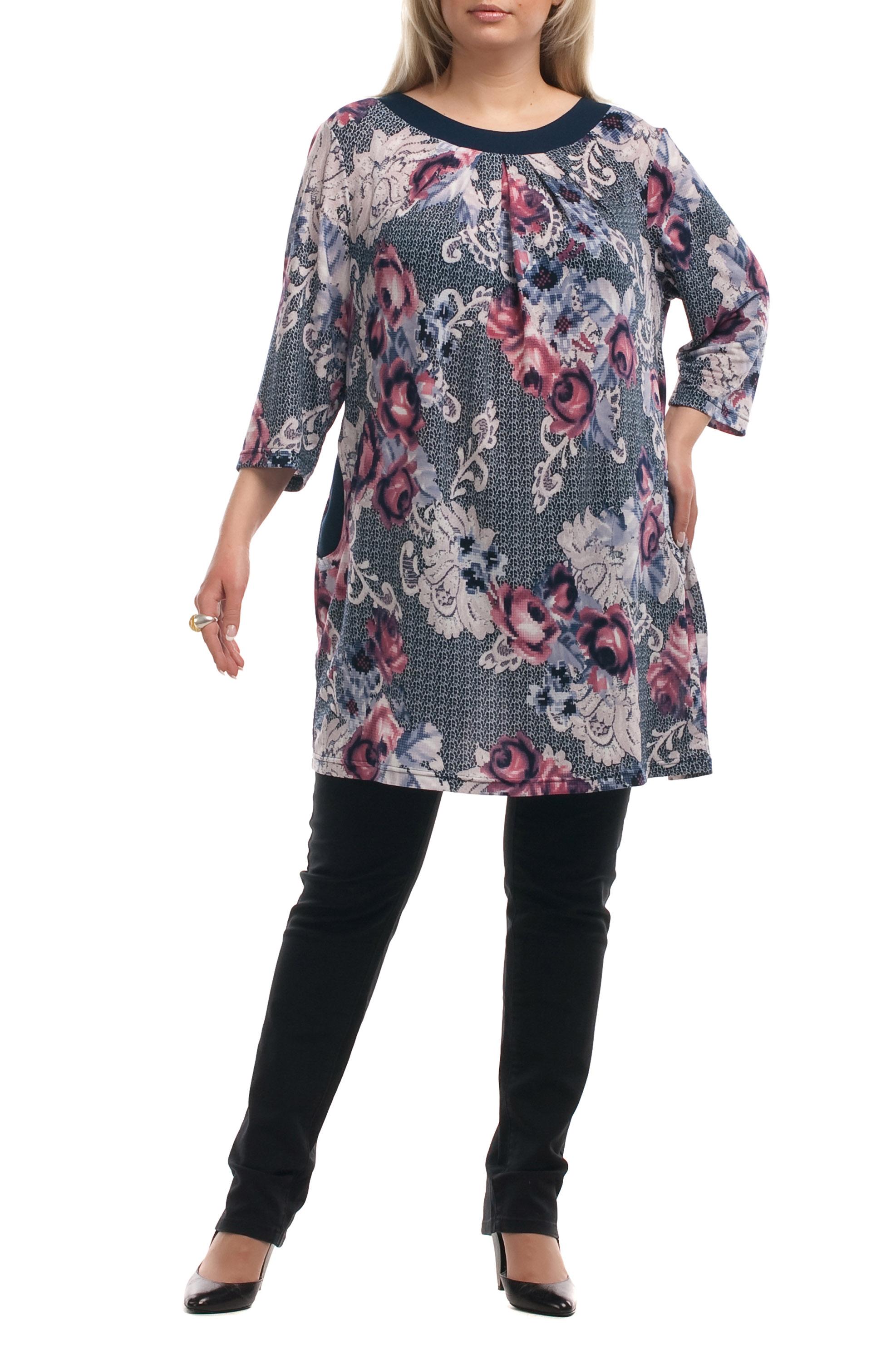 ТуникаТуники<br>Удлиненная женская туника с круглой горловиной и рукавами 3/4. Модель выполнена из приятного материала. Отличный выбор для повседневного гардероба.Цвет: серый, голубой, розовыйРост девушки-фотомодели 173 см.<br><br>Горловина: С- горловина<br>Рукав: Рукав три четверти<br>Материал: Вискоза,Трикотаж<br>Рисунок: Растительные мотивы,Цветные,Цветочные<br>Сезон: Весна,Осень<br>Силуэт: Прямые<br>Стиль: Повседневный стиль<br>Элементы: С декором,С карманами<br>Размер : 62,66<br>Материал: Вискоза<br>Количество в наличии: 3