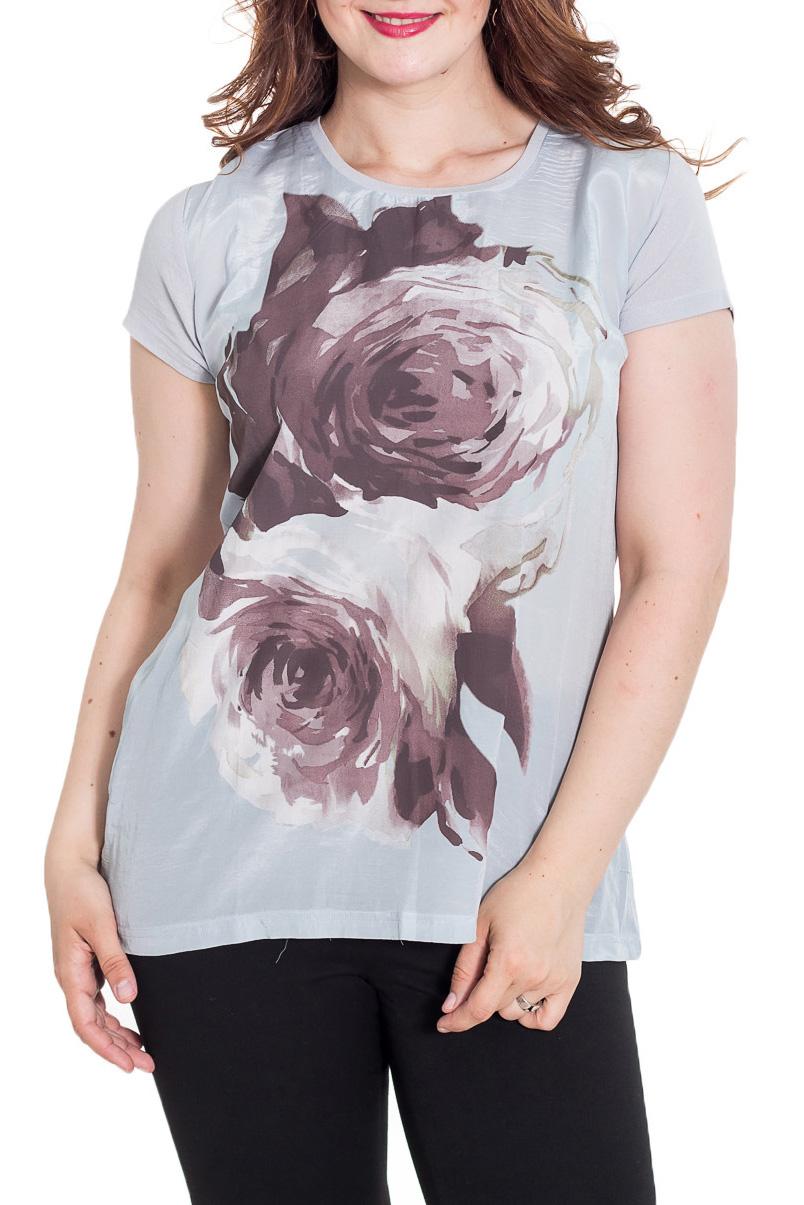 БлузкаБлузки<br>Красивая блузка полуприталенного силуэта. Модель выполнена из приятного материала. Отличный выбор для повседневного гардероба.  Цвет: серый, какао  Рост девушки-фотомодели 180 см.<br><br>Горловина: С- горловина<br>По материалу: Вискоза<br>По рисунку: Растительные мотивы,С принтом,Цветные,Цветочные<br>По сезону: Весна,Зима,Лето,Осень,Всесезон<br>По силуэту: Полуприталенные<br>По стилю: Повседневный стиль<br>Рукав: Короткий рукав<br>Размер : 50<br>Материал: Вискоза<br>Количество в наличии: 1
