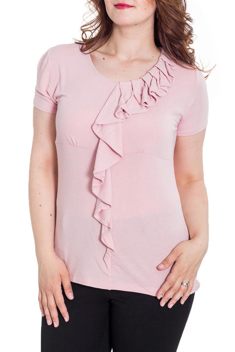 БлузкаБлузки<br>Великолепная блузка с короткими рукавами. Модель выполнена из мягкой вискозы. Отличный выбор для повседневного гардероба.  Цвет: розовый  Рост девушки-фотомодели 180 см.<br><br>Горловина: С- горловина<br>По материалу: Вискоза,Трикотаж<br>По рисунку: Однотонные<br>По сезону: Весна,Зима,Лето,Осень,Всесезон<br>По силуэту: Полуприталенные<br>По стилю: Повседневный стиль,Романтический стиль,Летний стиль<br>По элементам: С воланами и рюшами,С декором,С манжетами<br>Рукав: Короткий рукав<br>Размер : 44,46,48,50<br>Материал: Вискоза<br>Количество в наличии: 4