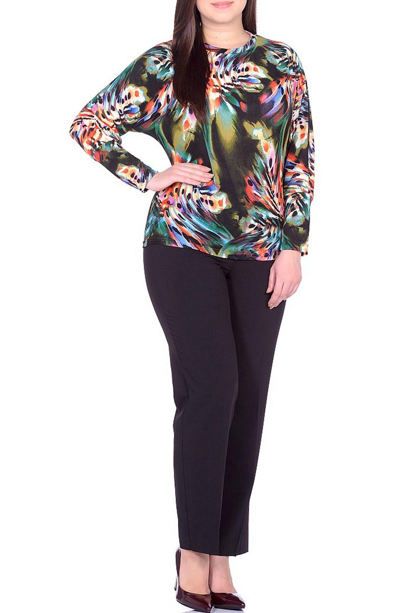 БлузкаБлузки<br>Цветная блузка с круглой головиной и длинными рукавами. Модель выполнена из приятного трикотажа. Отличный выбор для повседневного гардероба.  В изделии использованы цвета: зеленый и др.  Ростовка изделия 170 см.<br><br>Горловина: С- горловина<br>По материалу: Трикотаж<br>По рисунку: С принтом,Цветные<br>По сезону: Весна,Зима,Лето,Осень,Всесезон<br>По силуэту: Приталенные<br>По стилю: Повседневный стиль<br>Рукав: Длинный рукав<br>Размер : 50,52,54,56,58<br>Материал: Трикотаж<br>Количество в наличии: 10