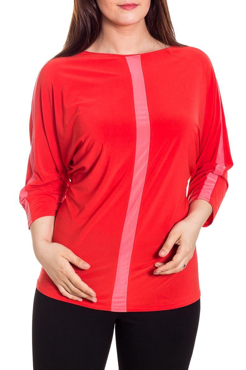 БлузкаБлузки<br>Эффектная блузка с контрастными декоративными вставками. Модель выполнена из приятного трикотажа. Отличный выбор для любого случая.  Цвет: красный, розовый  Рост девушки-фотомодели 180 см<br><br>По материалу: Вискоза,Трикотаж<br>По рисунку: Цветные<br>По сезону: Весна,Зима,Лето,Осень,Всесезон<br>По силуэту: Полуприталенные<br>По стилю: Повседневный стиль<br>Рукав: Рукав три четверти<br>Горловина: С- горловина<br>Размер : 56,58,60,62,64,66,68,70<br>Материал: Холодное масло<br>Количество в наличии: 13