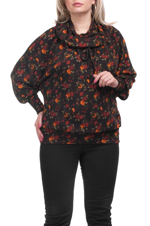 ДжемперДжемперы<br>Красивый джемпер свободного силуэта. Модель выполнена из приятного трикотажа. Отличный выбор для повседневного гардероба.  Цвет: коричневый, оранжевый, красный, зеленый  Рост девушки-фотомодели 173 см.<br><br>По материалу: Трикотаж<br>По образу: Город,Свидание<br>По рисунку: Растительные мотивы,С принтом,Цветные,Цветочные<br>По силуэту: Свободные<br>По стилю: Повседневный стиль<br>По элементам: С манжетами<br>Рукав: Длинный рукав<br>По сезону: Осень,Весна<br>Размер : 66<br>Материал: Трикотаж<br>Количество в наличии: 1