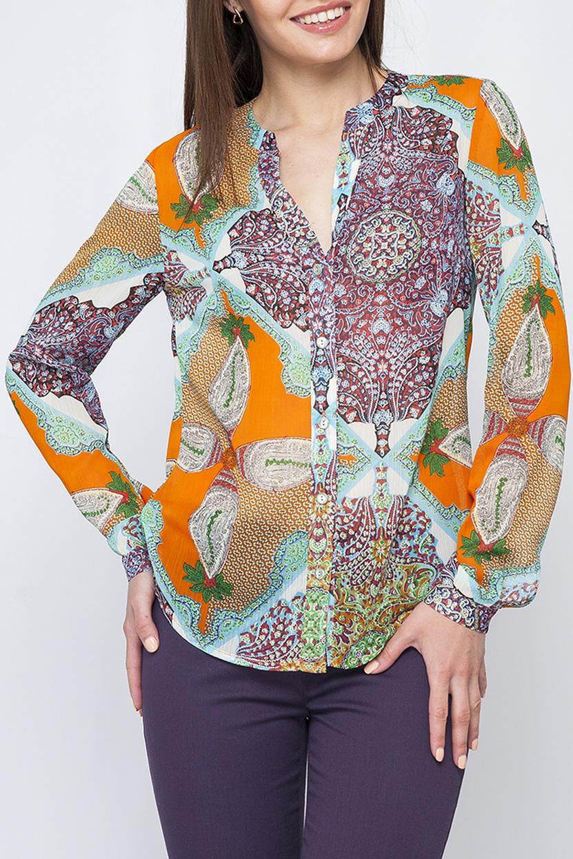РубашкаБлузки<br>Цветная рубашка из воздушного шифона. Отличный выбор для любого случая.  Параметры изделия:  42 размер: длина изделия по спинке - 63см, обхват по линии груди - 96см, длина рукава-61см;  46 размер: длина изделия по спинке - 64см, обхват по линии груди - 100см, длина рукава-61см.  В изделии использованы цвета: сиреневый, оранжевый, бирюзовый и др.  Рост девушки-фотомодели 170 см.<br><br>Горловина: V- горловина<br>По рисунку: С принтом,Цветные,Этнические<br>По сезону: Весна,Зима,Лето,Осень,Всесезон<br>По силуэту: Полуприталенные<br>По стилю: Повседневный стиль<br>Рукав: Длинный рукав<br>Размер : 42,44,46,50,52<br>Материал: Шифон<br>Количество в наличии: 5
