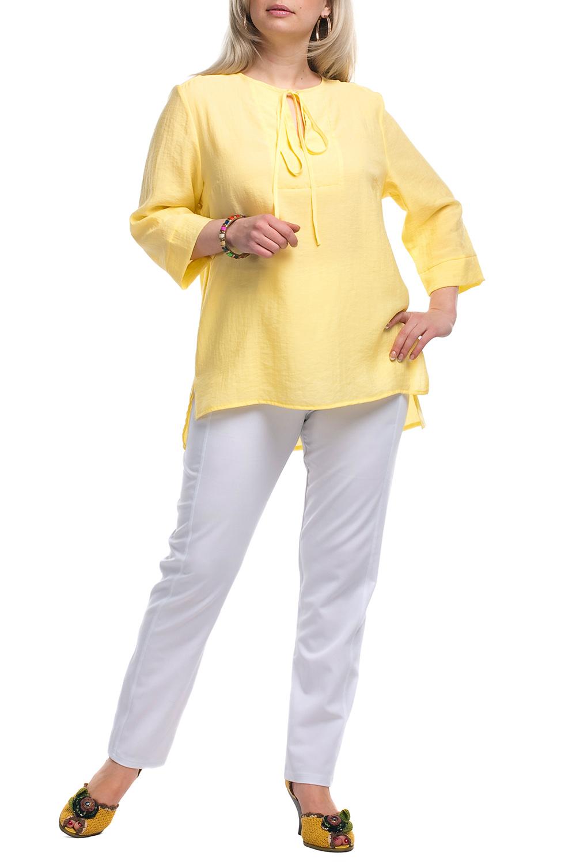 ТуникаТуники<br>Утонченная женская туника очаровательного дизайна Эта великолепная модель составит роскошный ансамбль в комплекте с леггинсами или модными облегающими брючками  Цвет: желтый.  Рост девушки-фотомодели 173 см<br><br>Горловина: С- горловина<br>Застежка: С завязками<br>По материалу: Вискоза,Тканевые<br>По рисунку: Однотонные<br>По сезону: Весна,Зима,Лето,Осень,Всесезон<br>По силуэту: Прямые,Свободные<br>По стилю: Кэжуал,Летний стиль,Повседневный стиль<br>По элементам: С декором,С фигурным низом<br>Рукав: Длинный рукав,Рукав три четверти<br>Размер : 58,66,68<br>Материал: Блузочная ткань<br>Количество в наличии: 3