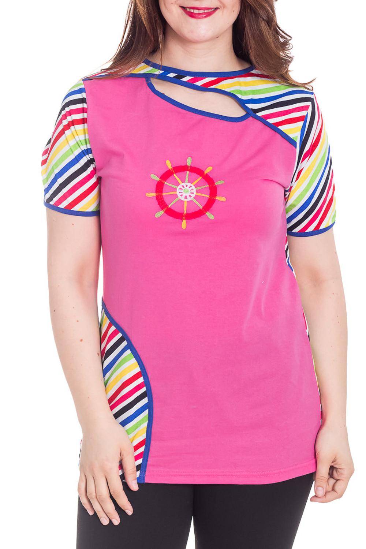 ТуникаТуники<br>Чудесная женская домашная туника. Домашняя одежда, прежде всего, должна быть удобной, практичной и красивой. В тунике Вы будете чувствовать себя комфортно, особенно, по вечерам после трудового дня.  Цвет: розовый, мультицвет  Рост девушки-фотомодели 180 см<br><br>Горловина: Лодочка<br>По длине: Удлиненные<br>По рисунку: В полоску,Цветные,С принтом<br>По сезону: Весна,Зима,Лето,Осень,Всесезон<br>По силуэту: Полуприталенные<br>По элементам: С декором<br>Рукав: Короткий рукав<br>По материалу: Трикотаж,Хлопок<br>Размер : 44,46,52,54<br>Материал: Трикотаж<br>Количество в наличии: 4