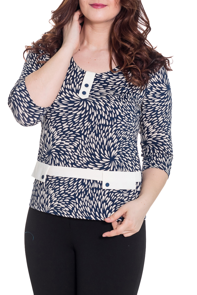 БлузкаБлузки<br>Красивая блузка с интересным принтом. Модель выполнена из приятного материала. Отличный выбор для любого случая.  Цвет: синий, белый  Рост девушки-фотомодели 180 см.<br><br>По образу: Город,Свидание<br>По стилю: Повседневный стиль<br>По материалу: Трикотаж<br>По рисунку: Цветные,С принтом<br>По сезону: Всесезон,Весна,Зима,Лето,Осень<br>По силуэту: Приталенные<br>По элементам: С декором<br>Рукав: Рукав три четверти<br>Горловина: С- горловина<br>Размер: 48-50,52-56,58-62,64-68<br>Материал: 100% полиэстер<br>Количество в наличии: 3