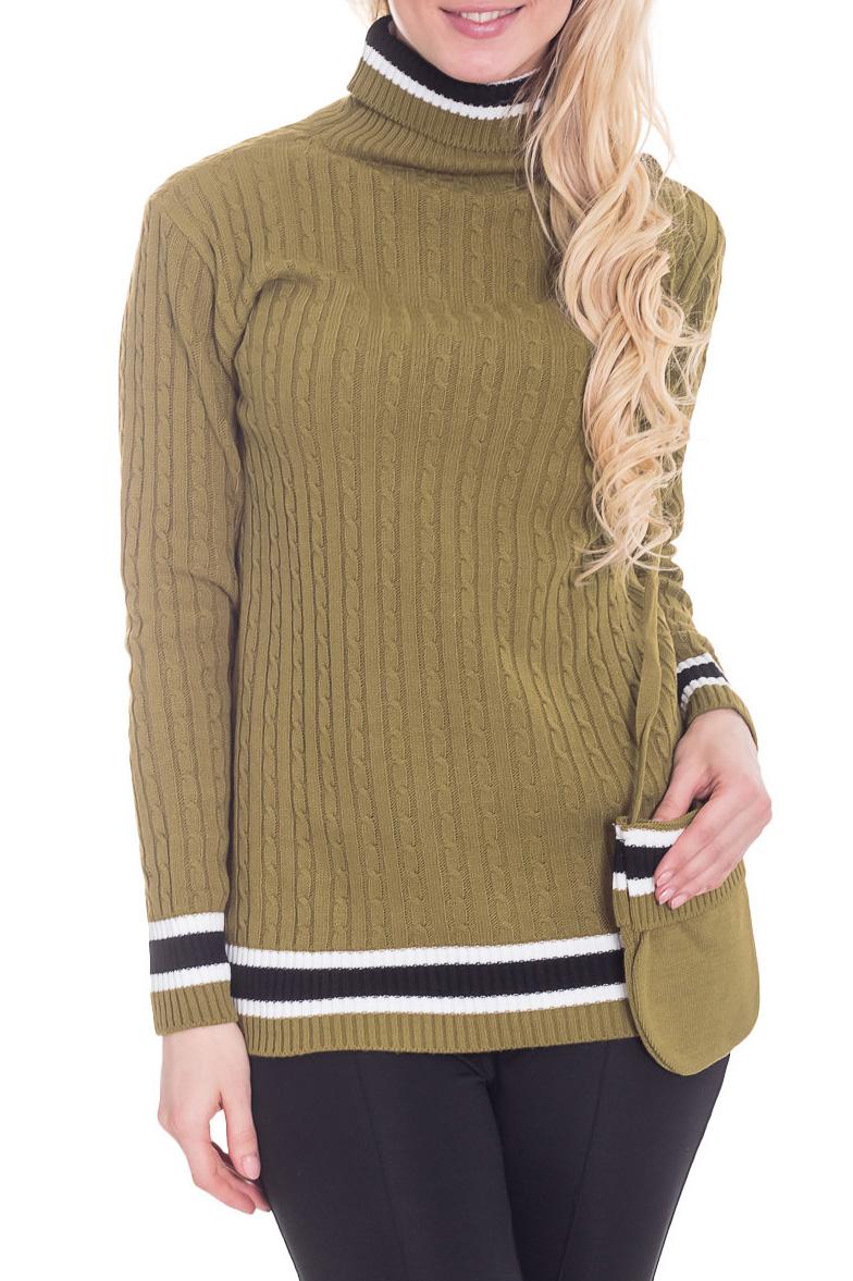 СвитерСвитеры<br>Фактурный свитер с длинными рукавами. Вязаный трикотаж - это красота, тепло и комфорт. В вязаной одежде очень легко оставаться женственной и в то же время не замёрзнуть. Свитер без сумочки.  Цвет: зеленый, черный, белый  Рост девушки-фотомодели 170 см.<br><br>Воротник: Стойка<br>По материалу: Вязаные,Трикотаж<br>По рисунку: Однотонные<br>По силуэту: Полуприталенные<br>По стилю: Повседневный стиль<br>Рукав: Длинный рукав<br>По сезону: Осень,Весна<br>Размер : 46<br>Материал: Вязаное полотно<br>Количество в наличии: 1