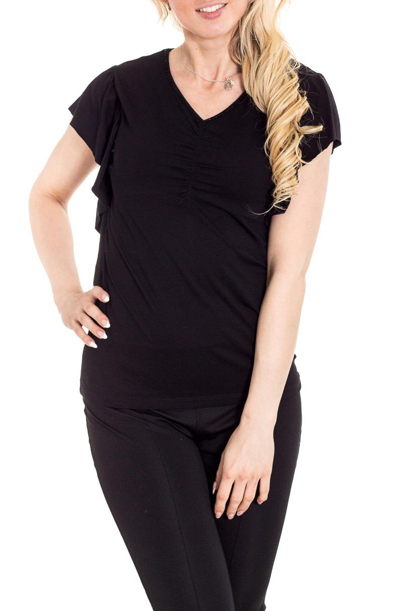 БлузкаБлузки<br>Красивая блузка с короткими рукавами. Модель выполнена из приятного материала. Отличный выбор для повседневного гардероба.  Цвет: черный  Рост девушки-фотомодели 170 см.<br><br>Горловина: V- горловина<br>По материалу: Вискоза<br>По рисунку: Однотонные<br>По сезону: Весна,Зима,Лето,Осень,Всесезон<br>По силуэту: Полуприталенные<br>По стилю: Повседневный стиль<br>По элементам: С воланами и рюшами<br>Рукав: Короткий рукав<br>Размер : 46<br>Материал: Вискоза<br>Количество в наличии: 1