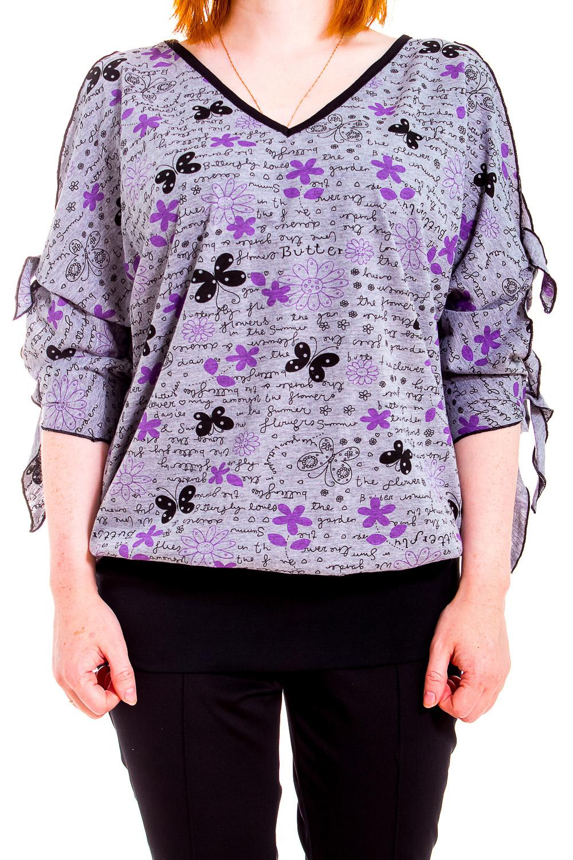 ДжемперКофты<br>Домашняя одежда, прежде всего, должна быть удобной, практичной и красивой. В джемпере Вы будете чувствовать себя комфортно, особенно, по вечерам после трудового дня.  В изделии использованы цвета: серый, фиолетовый и др.  Рост девушки-фотомодели 170 см.<br><br>Горловина: V- горловина<br>По рисунку: Цветные,Цветочные,С принтом<br>По сезону: Весна,Зима,Лето,Осень,Всесезон<br>По силуэту: Полуприталенные<br>Рукав: Рукав три четверти<br>По материалу: Трикотаж,Хлопок<br>Размер : 44-46<br>Материал: Трикотаж<br>Количество в наличии: 1