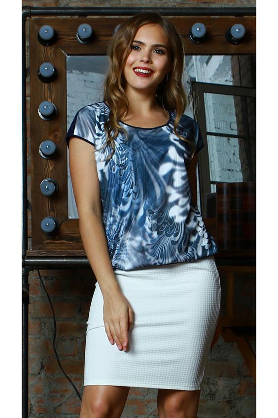 БлузкаБлузки<br>Комбинированная блуза свободного силуэта на поясе, выполнена из легкого струящегося трикотажного полотна. Полочка двойная (вискоза +сетка), с набивным рисунком,который повторяется на сетке,спинка -однотонная. Проймы и горловины окантованы. Стильная модель с красочным принтом сделает ваш образ более ярким! А свободный крой надежно маскируют область талии.Длина изделия от 61 см до 65 см, в зависимости от размера. В изделии использованы цвета: синий, голубой, белыйРостовка изделия 170 см.<br><br>Горловина: С- горловина<br>Рукав: Короткий рукав<br>Материал: Гипюровая сетка,Трикотаж<br>Рисунок: С принтом,Цветные<br>Сезон: Весна,Всесезон,Зима,Лето,Осень<br>Силуэт: Полуприталенные<br>Стиль: Повседневный стиль,Летний стиль<br>Размер : 46<br>Материал: Холодное масло + Гипюровая сетка<br>Количество в наличии: 2