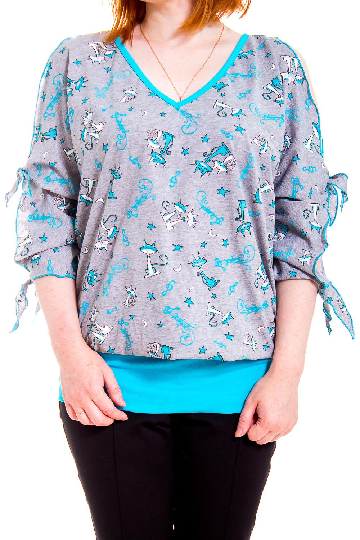 ДжемперКофты<br>Домашняя одежда, прежде всего, должна быть удобной, практичной и красивой. В джемпере Вы будете чувствовать себя комфортно, особенно, по вечерам после трудового дня.  В изделии использованы цвета: серый, голубой и др.  Рост девушки-фотомодели 170 см.<br><br>Горловина: V- горловина<br>По рисунку: Животные мотивы,Цветные,С принтом<br>По сезону: Весна,Зима,Лето,Осень,Всесезон<br>По силуэту: Полуприталенные<br>Рукав: Рукав три четверти<br>По материалу: Трикотаж,Хлопок<br>Размер : 44-46<br>Материал: Трикотаж<br>Количество в наличии: 1