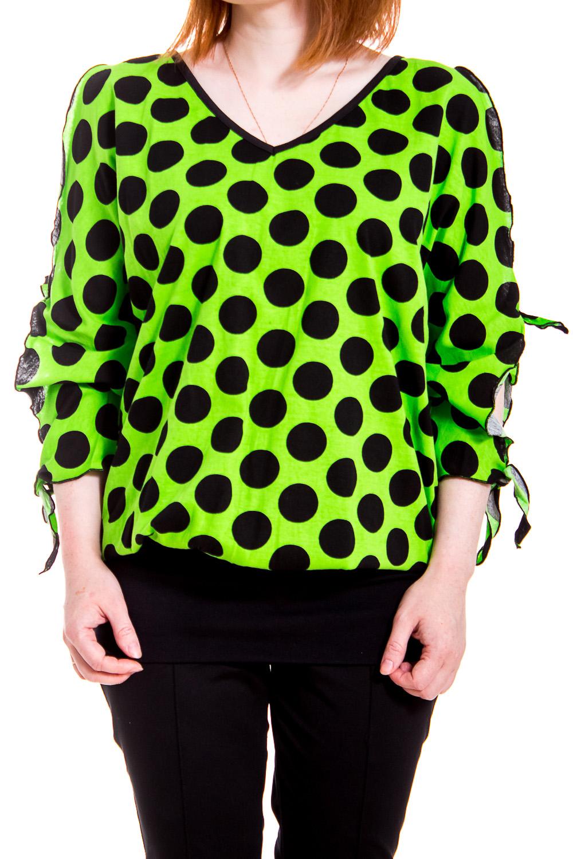 ДжемперКофты<br>Домашняя одежда, прежде всего, должна быть удобной, практичной и красивой. В джемпере Вы будете чувствовать себя комфортно, особенно, по вечерам после трудового дня.  В изделии использованы цвета: зеленый, черный  Рост девушки-фотомодели 170 см.<br><br>Горловина: V- горловина<br>По рисунку: В горошек,Цветные,С принтом<br>По сезону: Весна,Зима,Лето,Осень,Всесезон<br>По силуэту: Полуприталенные<br>Рукав: Рукав три четверти<br>По материалу: Трикотаж,Хлопок<br>Размер : 44-46<br>Материал: Трикотаж<br>Количество в наличии: 1