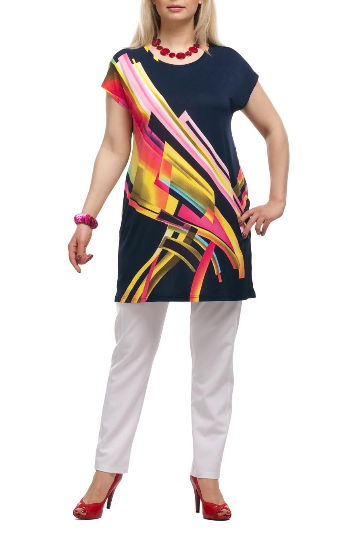 ТуникаТуники<br>Яркая туника с короткими рукавами. Модель выполнена из приятного трикотажа. Отличный выбор для любого случая.   Цвет: синий, желтый, розовый, красный, оранжевый  Рост девушки-фотомодели 173 см.<br><br>Горловина: С- горловина<br>По материалу: Трикотаж<br>По рисунку: С принтом,Цветные<br>По силуэту: Полуприталенные<br>По стилю: Повседневный стиль<br>Рукав: Короткий рукав<br>По сезону: Лето,Весна,Зима,Осень,Всесезон<br>Размер : 52,54,56,58,60,62,64,66,68<br>Материал: Холодное масло<br>Количество в наличии: 94