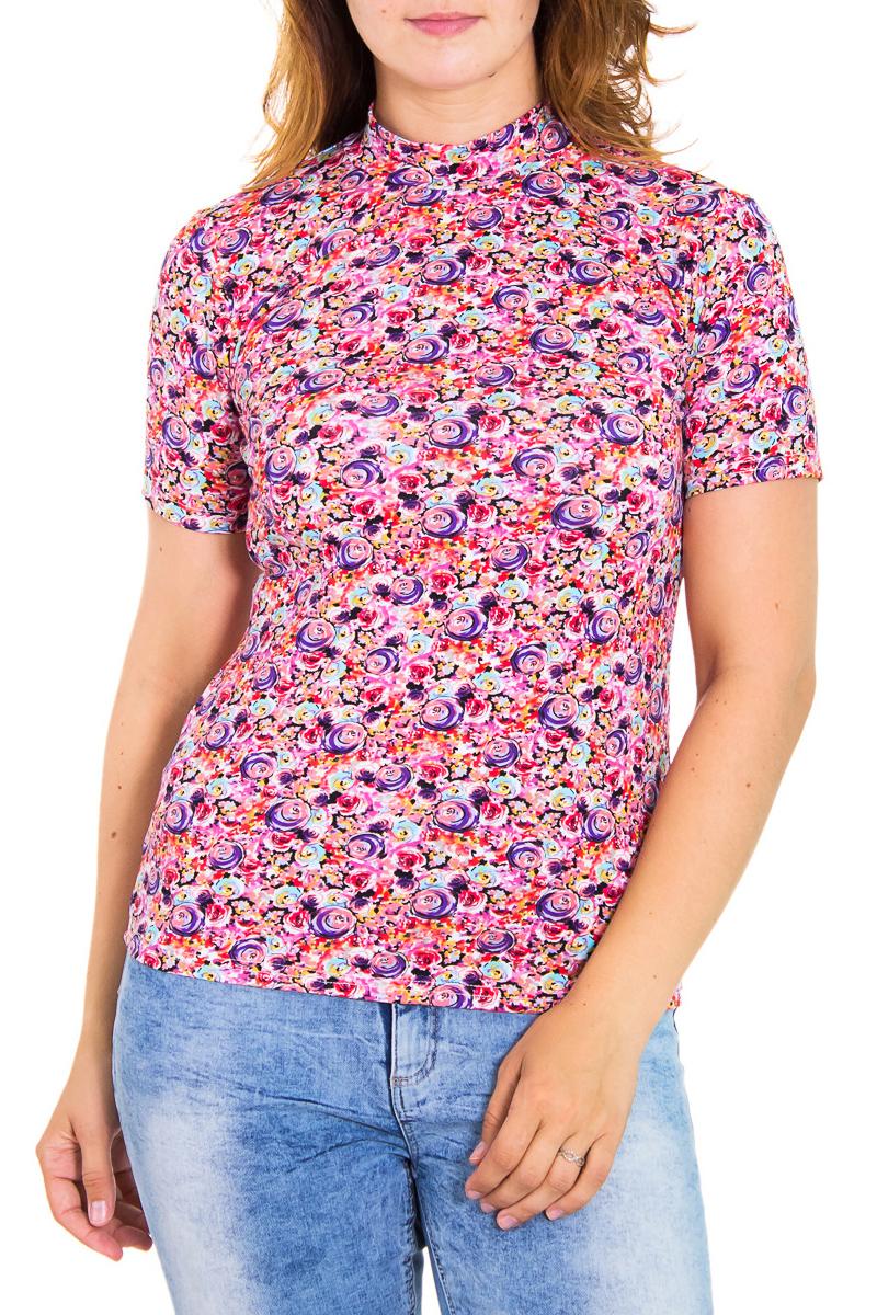 БлузкаБлузки<br>Цветная женская блузка с небольшим воротником стойка и короткими рукавами. Модель выполнена из приятного трикотажа. Отличный выбор для повседневного гардероба.  Цвет: розовый, сиреневый, коралловый  Рост девушки-фотомодели 180 см<br><br>Воротник: Стойка<br>По материалу: Вискоза<br>По рисунку: Абстракция,Цветные<br>По сезону: Весна,Всесезон,Зима,Лето,Осень<br>По силуэту: Приталенные<br>По стилю: Повседневный стиль<br>Рукав: Короткий рукав<br>Размер : 46,48<br>Материал: Вискоза<br>Количество в наличии: 2