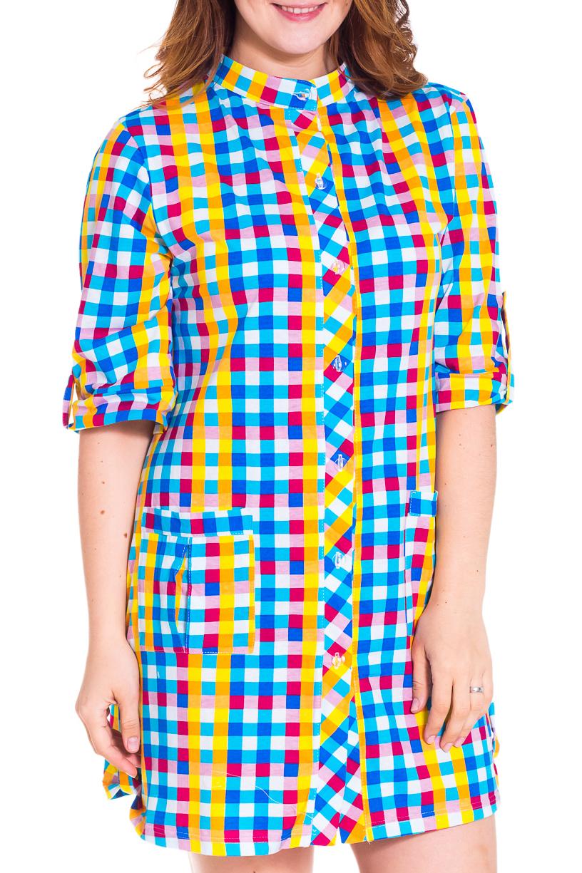 ТуникаТуники<br>Яркая женская туника с воротником quot;стойкаquot; и рукавами 3/4. Модель выполнена из хлопкового материала. Отличный выбор для повседневного гардероба.  Цвет: розовый, желтый, голубой, белый  Рост девушки-фотомодели 180 см<br><br>По сезону: Осень,Весна<br>Размер : 54<br>Материал: Хлопок<br>Количество в наличии: 2