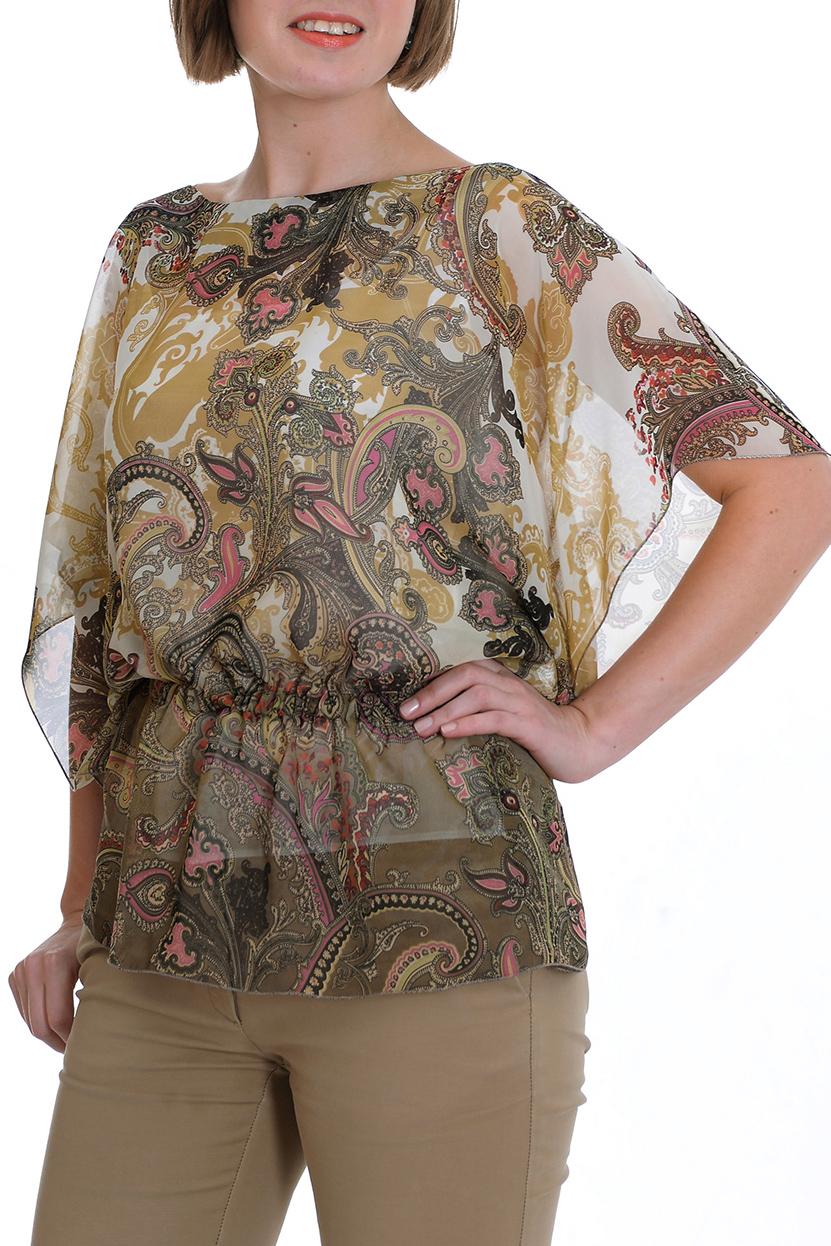 БлузкаБлузки<br>Женская блузка с круглой горловиной. Модель свободного силуэта выполнена из приятного материала. Отличный выбор для повседневного гардероба.  Цвет: бежевый, коричневый, розовый  Рост девушки-фотомодели 170 см<br><br>Горловина: С- горловина<br>По материалу: Вискоза,Шифон<br>По образу: Город,Свидание<br>По рисунку: С принтом,Цветные,Этнические<br>По сезону: Весна,Зима,Лето,Осень,Всесезон<br>По силуэту: Прямые,Свободные<br>По стилю: Повседневный стиль<br>Рукав: До локтя<br>Размер : 50<br>Материал: Шифон<br>Количество в наличии: 1