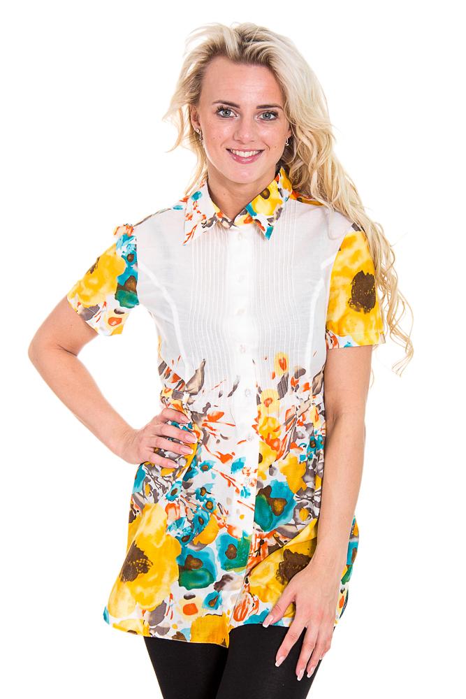 ТуникаТуники<br>Красивая женская туника с короткими рукавами и рубашечным воротником. Модель выполнена из приятного материала. Отличный выбор для повседневного гардероба.  Цвет: белый, желтый, голубой  Рост девушки-фотомодели 170 см<br><br>Воротник: Рубашечный<br>По материалу: Тканевые,Хлопок<br>По образу: Город,Свидание<br>По рисунку: Растительные мотивы,Цветные,Цветочные<br>По силуэту: Полуприталенные<br>По стилю: Повседневный стиль<br>Рукав: Короткий рукав<br>По сезону: Лето<br>Размер : 44,46,48,54<br>Материал: Хлопок<br>Количество в наличии: 2