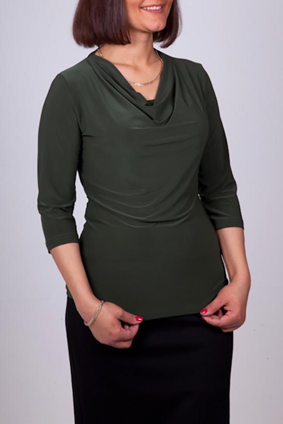 ДжемперБлузки<br>Стильный джемпер с воротником качель и рукавами 3/4 актуального насыщенного темно-зеленого оттенка. Модель приталенного силуэта из нежного трикотажа. Удобный вариант для современной женщины. Этот джемпер станет прекрасным дополнением любого элемента Вашего гардероба.  Цвет: темно-зеленый  Ростовка изделия 170 см.<br><br>Горловина: Качель<br>По материалу: Трикотаж<br>По рисунку: Однотонные<br>По сезону: Весна,Зима,Лето,Осень,Всесезон<br>По силуэту: Приталенные<br>По стилю: Повседневный стиль<br>Рукав: Рукав три четверти<br>Размер : 48<br>Материал: Холодное масло<br>Количество в наличии: 1