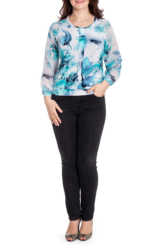 БлузкаБлузки<br>Красивая блузка с круглой горловиной и рукавами 3/4. Модель выполнена из приятного материала. Отличный выбор для повседневного гардероба.  В изделии использованы цвета: белый, голубой др.  Рост девушки-фотомодели 180 см.<br><br>Горловина: С- горловина<br>По материалу: Трикотаж,Шифон<br>По рисунку: С принтом,Цветные<br>По сезону: Весна,Зима,Лето,Осень,Всесезон<br>По силуэту: Полуприталенные<br>По стилю: Повседневный стиль<br>По элементам: С манжетами<br>Рукав: Длинный рукав<br>Размер : 48,54<br>Материал: Холодное масло + Шифон<br>Количество в наличии: 2