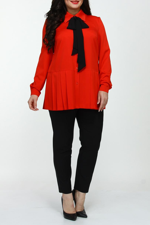 БлузкаБлузки<br>Удлиненная блузка с контрастным бантом. Модель выполнена из приятного материала. Отличный выбор для любого случая.  Цвет: оранжево-красный  Ростовка изделия 170 см.<br><br>Воротник: Рубашечный<br>Застежка: С пуговицами<br>По материалу: Тканевые<br>По образу: Город,Свидание<br>По рисунку: Однотонные<br>По сезону: Весна,Зима,Лето,Осень,Всесезон<br>По силуэту: Прямые<br>По стилю: Повседневный стиль<br>По элементам: С декором,С манжетами,Со складками<br>Рукав: Длинный рукав<br>Размер : 50,52,54<br>Материал: Блузочная ткань<br>Количество в наличии: 3